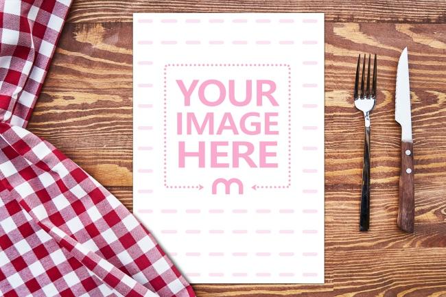 Menu on Wood Table Online Mockup Generator preview image