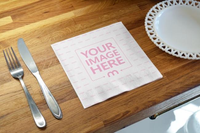 Soft Paper Napkin on Kitchen Wood Surface Mockup