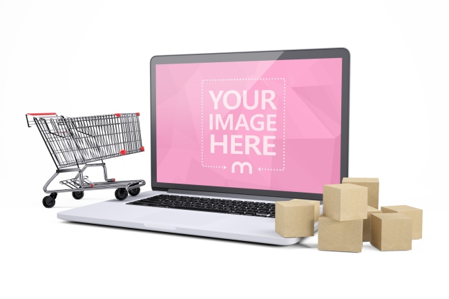 3D Laptop Mockup with Shopping Cart and Boxes