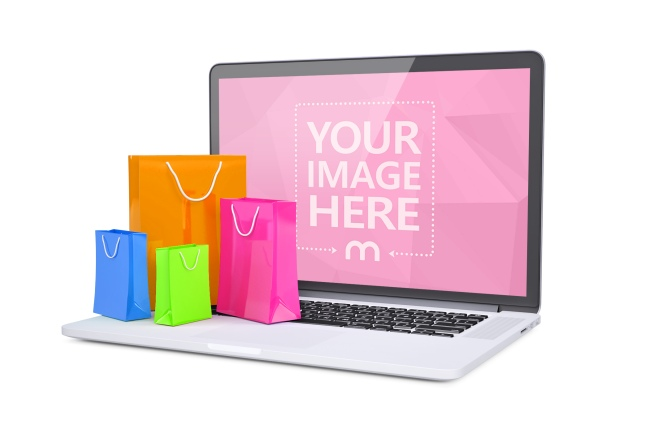 3D Laptop Mockup with Colorful Shopping Bags preview image