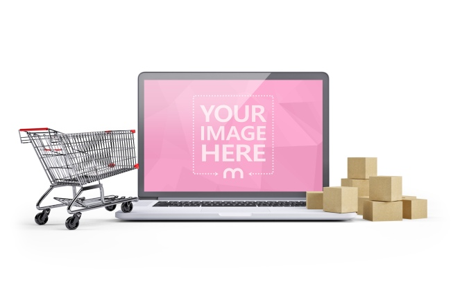 3D Laptop Mockup with a Shopping Cart and Boxes