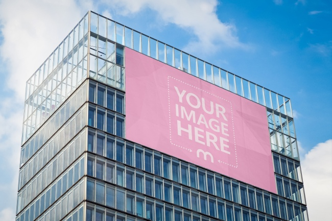 Large Advertisement Billboard on Glass Building Mockup preview image