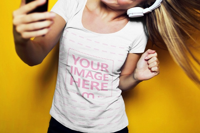 T-Shirt Mockup Generator with Young Woman Taking a Selfie