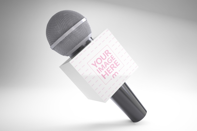 3D Microphone Flag Branding Mockup Generator preview image