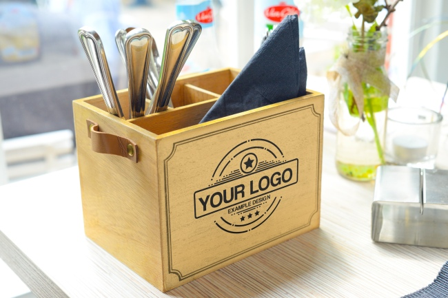 Logo on Wooden Cutlery and Napkin Holder Mockup preview image
