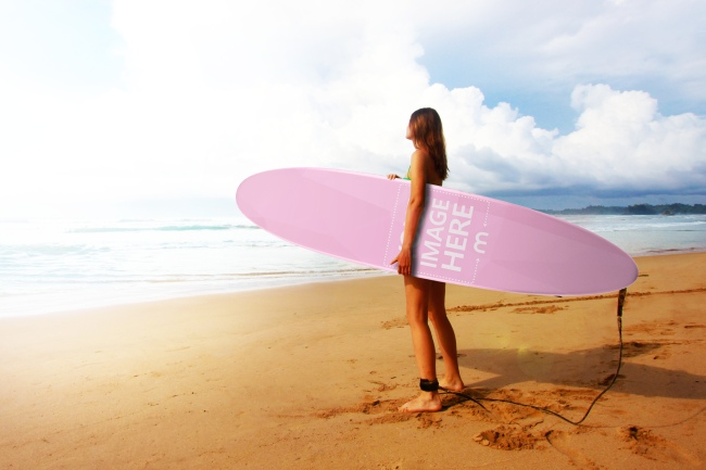 Woman Holding Surfboard on the Beach Mockup Generator preview image