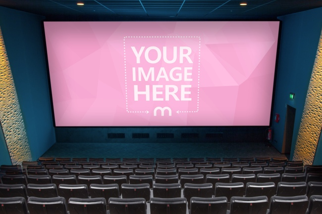 Large Cinema Hall Screen Mockup Generator