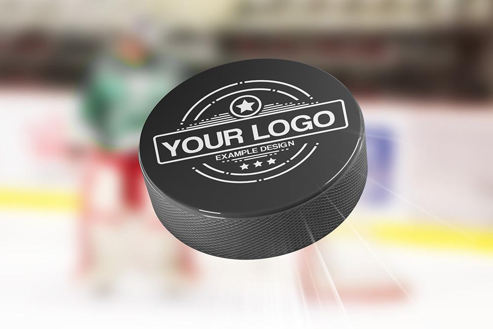Logo on Hockey Puck Mockup Generator preview image