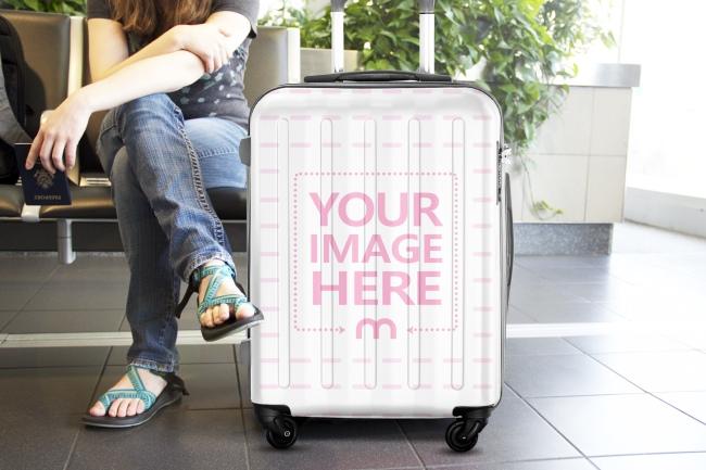Custom Travel Suitcase at Airport Waiting Area Mockup
