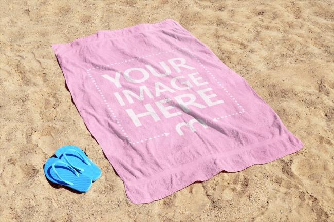Beach Towel on Sand Mockup Generator