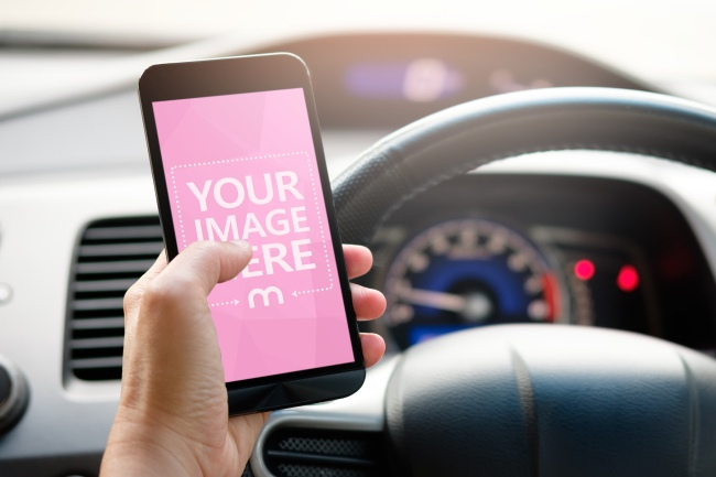 Man Browsing on Smartphone While Driving a Car Mockup