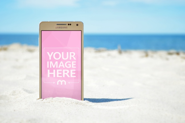 Golden Android Smartphone on the Beach Mockup Generator preview image