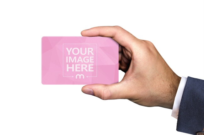 Businessman Holding Credit Card Mockup Generator preview image