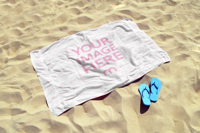 Beach Towel on the Sand Mockup Generator preview image