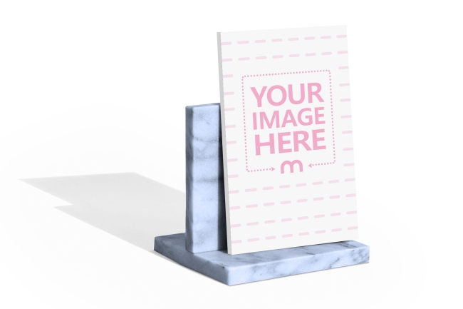 Marble Book Stand with Paperback Book Mockup preview image