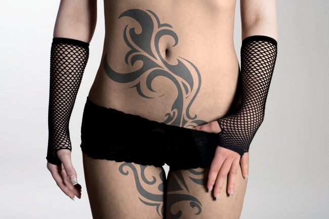 Woman in Lingerie Belly Tattoo Mockup Generator preview image