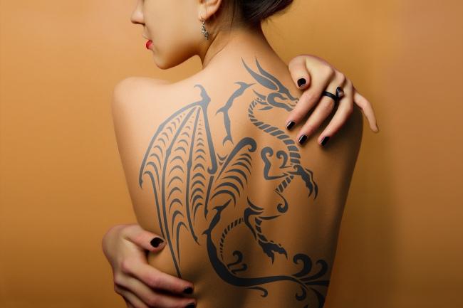 Woman Full Back Tattoo Mockup Generator