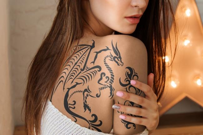 Woman Shoulder and Back Tattoo Mockup Generator
