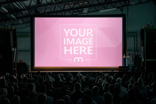 Projector Screen in Large Conference Hall Mockup