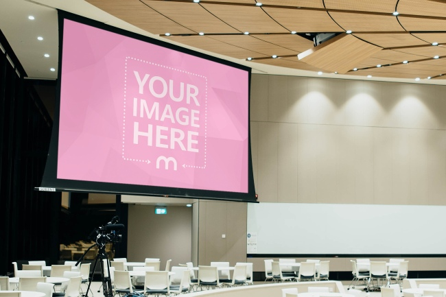 Projector Display Screen in Conference Hall Mockup preview image