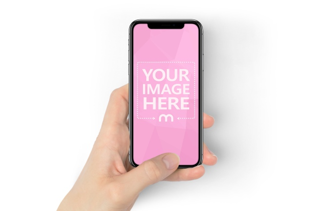 Woman Holding Space Gray iPhone X in Hand Mockup preview image