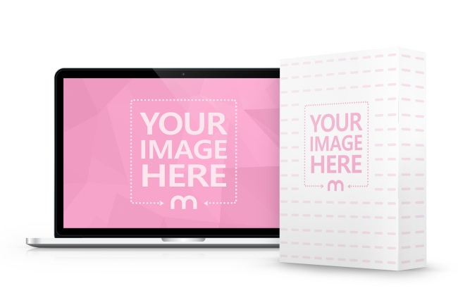 Macbook and Standing Product Box Mockup Generator preview image