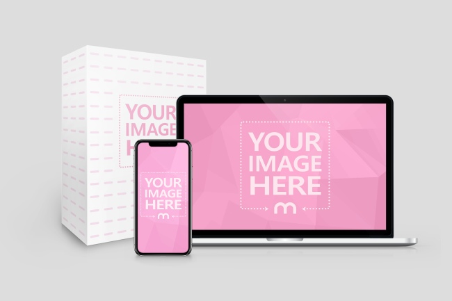 Macbook, iPhone X and Product Box Mockup preview image