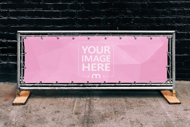 Horizontal Steel Frame Banner on the Street Mockup preview image