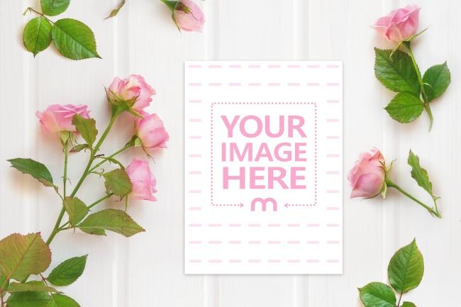 Wedding Invitation Card on Floral Background Mockup Generator preview image