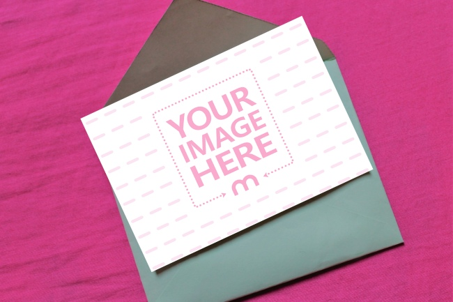 5x7 Card with Envelope on Pink Surface Mockup preview image