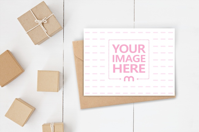 Greeting Card/Invitation with Craft Envelope Mockup Generator preview image