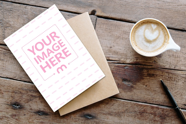 5x7 Greeting Card with Craft Envelope Mockup Generator preview image