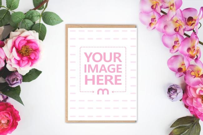 5x7 Postcard on Floral Background Mockup Generator preview image