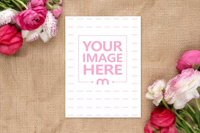 Flat 6x9 Postcard with Flowers Background Mockup Generator preview image