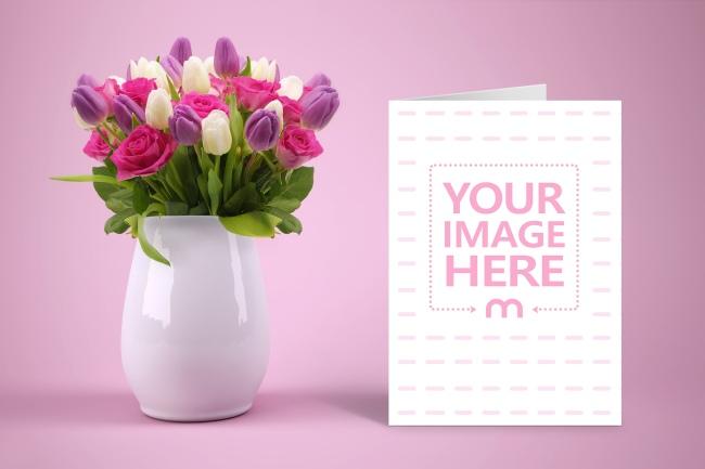 Portrait Invitation Card on Pink Floral Background Mockup Generator preview image