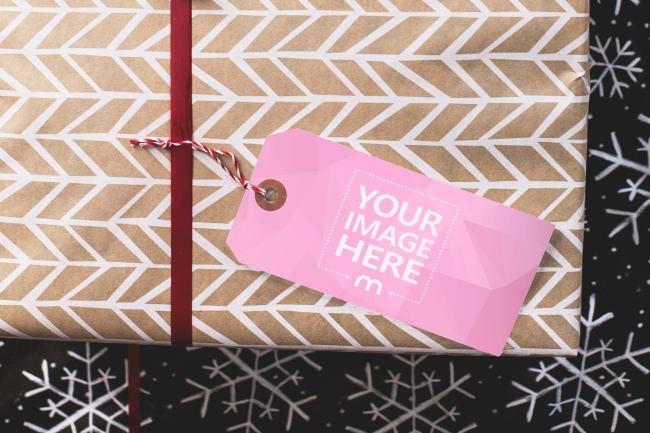 Christmas Present Label Tag Mockup Generator preview image