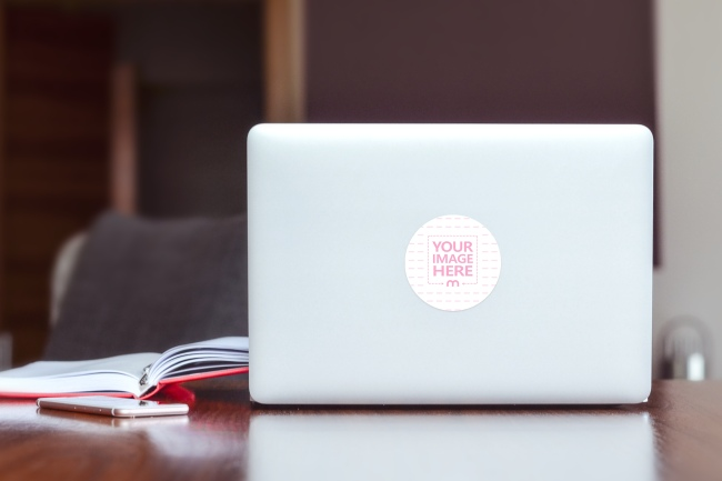 Round Laptop Cover Sticker Mockup Generator preview image