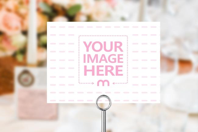 Landscape Wedding Card/Table Number Mockup Generator preview image