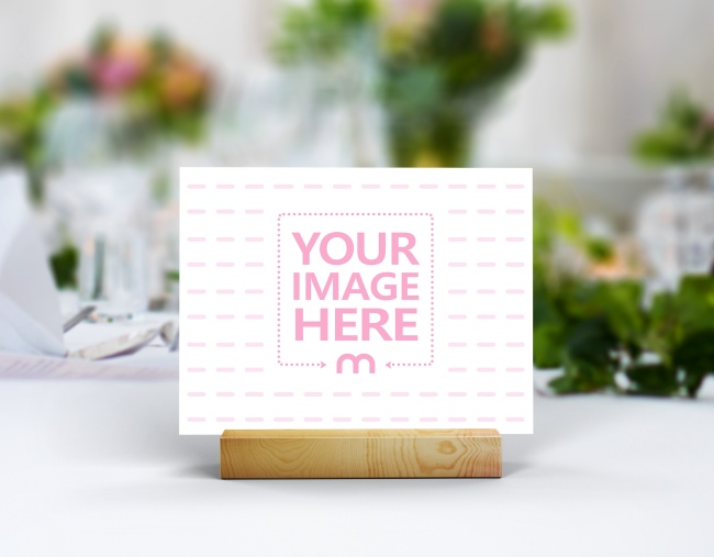 Landscape Wedding Card/Table Number on Wooden Holder Mockup preview image