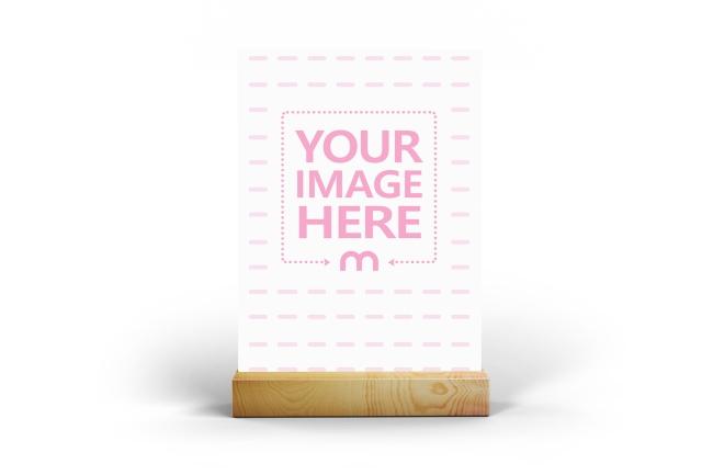 Portrait Card on Wooden Holder Mockup Generator preview image