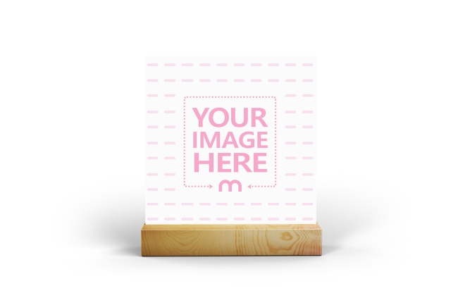 Square Card on Wooden Holder Mockup Generator preview image