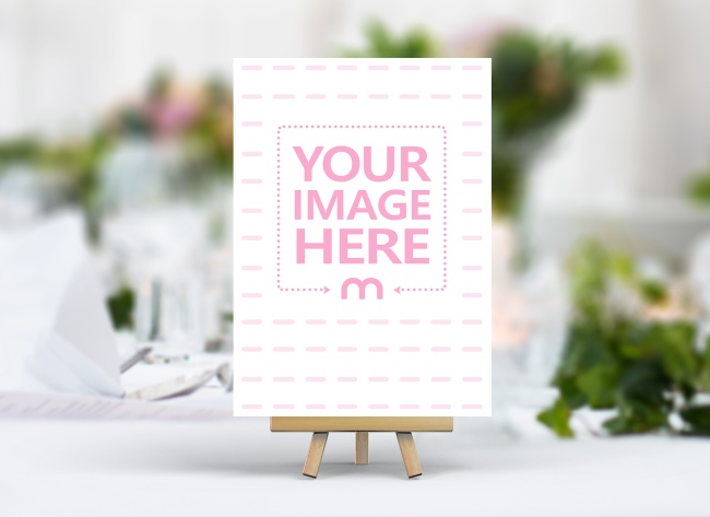 Portrait Wedding Card on Wood Stand Mockup Generator preview image