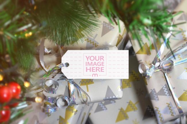 Christmas Gift Box Tag Mockup Generator preview image