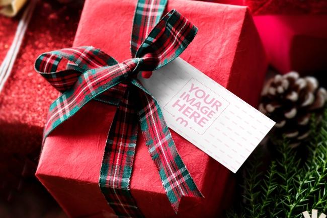 Christmas Present Label Tag Mockup Generartor preview image