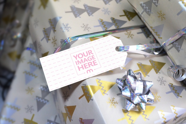 Christmas Gift Box Label Tag Mockup preview image