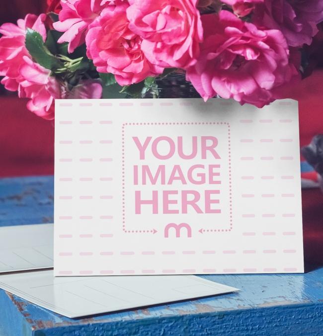 Landscape Postcard on Flowers Background Mockup preview image