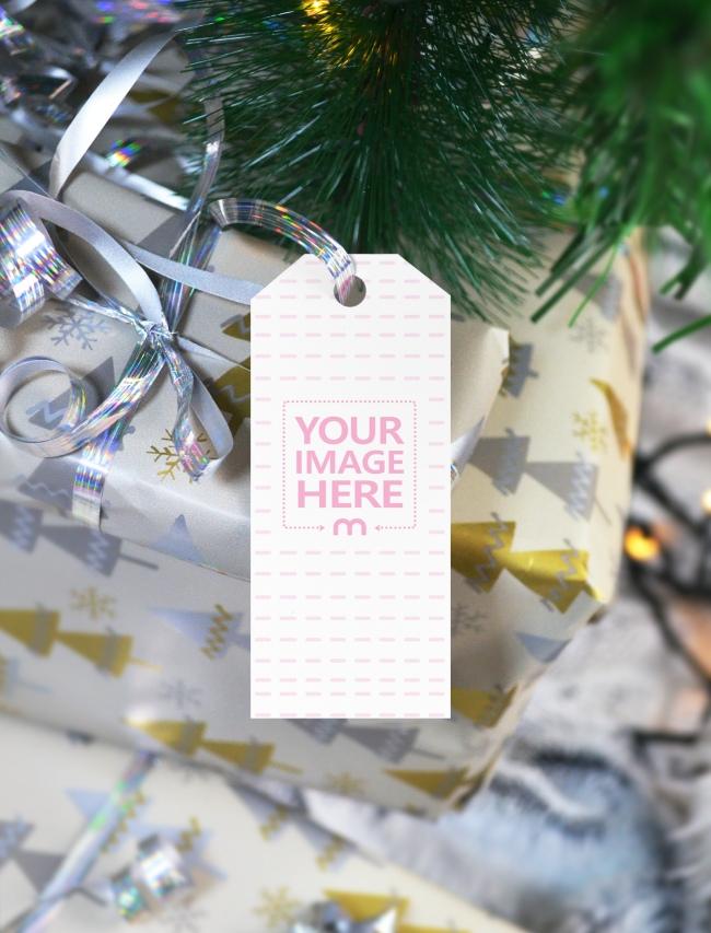 Portrait Christmas Gift Label Tag Mockup Generator