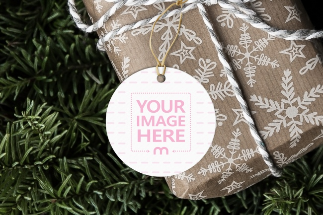 Round Paper Label Tag on Christmas Present Mockup