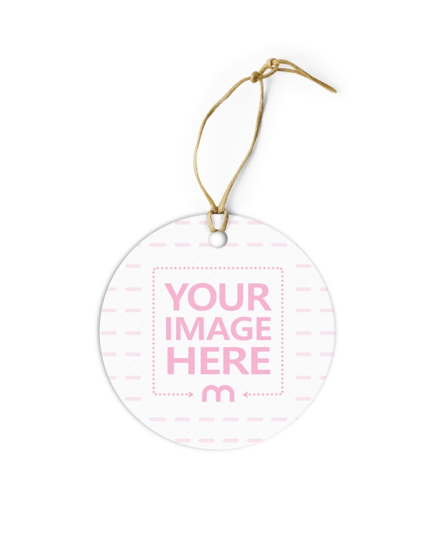 Round Paper Label Tag with String Mockup
