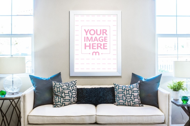 Canvas Art Poster on Living Room Wall Mockup Generator preview image